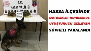 Hassa'da motosiklet heybesine uyuşturucu gizleyen şüpheli yakalandı