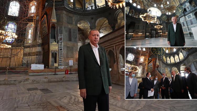 Ayasofya'ya sürpriz ziyaret! Cumhurbaşkanı Erdoğan paylaştı