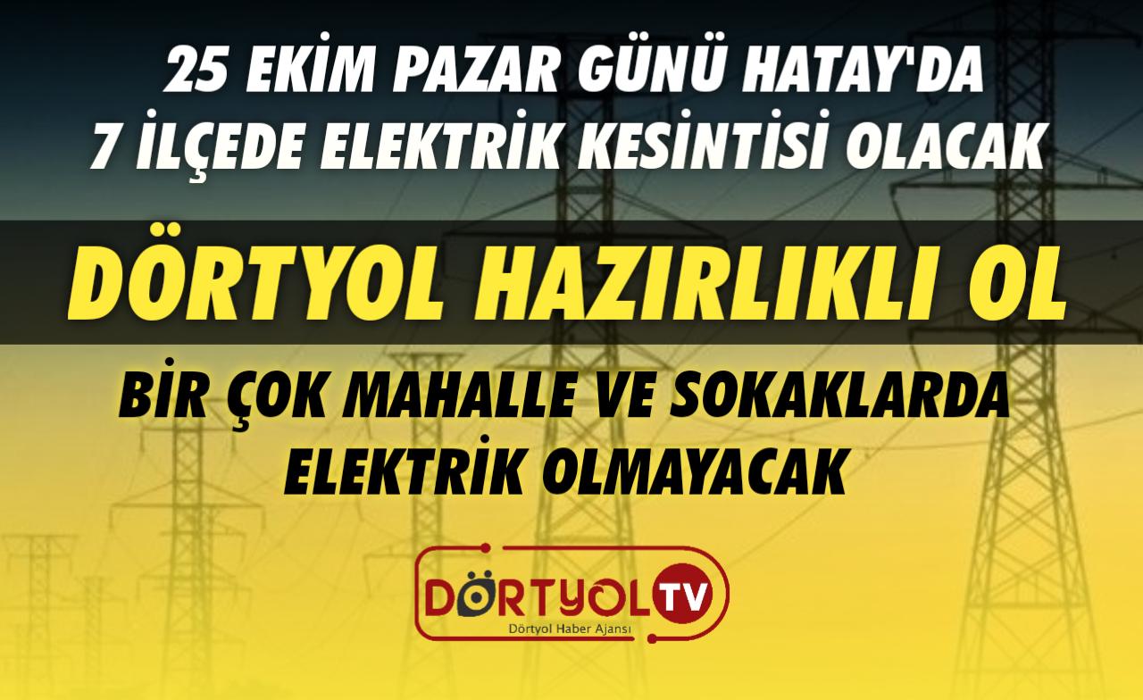 Hatay'da Elektrik Kesintisi Olacak